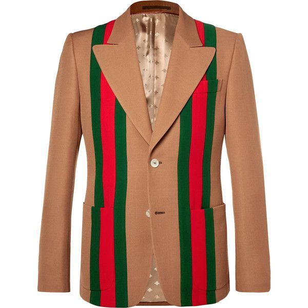 7e294726a Gucci Camel Striped Wool and Silk-Blend Crepe Suit Jacket ($2,845) ❤ liked  on Polyvore featuring men's fashion, men's clothing, men's outerwear, ...