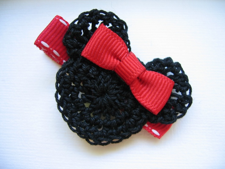 Minnie Mouse Crochet Hair Clip: