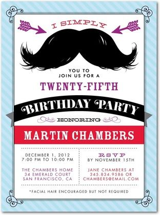 magnificent mustache adult birthday party invitations in eggshell or powder blue - Mustache Party Invitations
