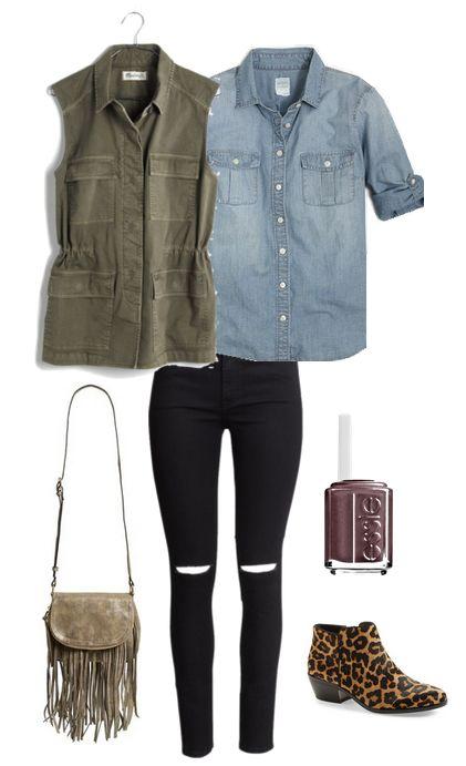 Black jeans, denim shirt, olive vest, leopard booties.