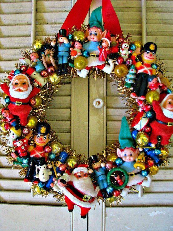 DIY: holiday wreath with vintage fleamarket finds. gluegun+styro ring+kitsch pinned with Pinvolve