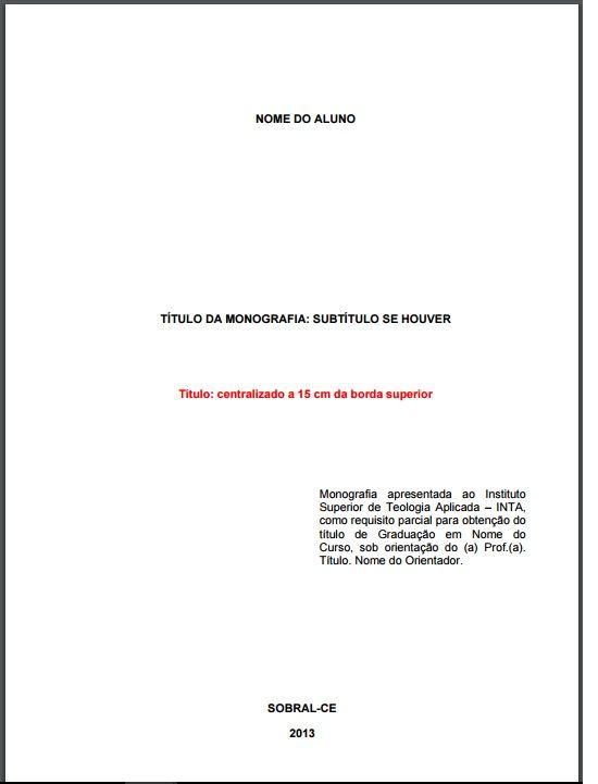 Folha de rosto obrigatória que deve constar em uma monografia da ABNT (Foto: Ilustração)