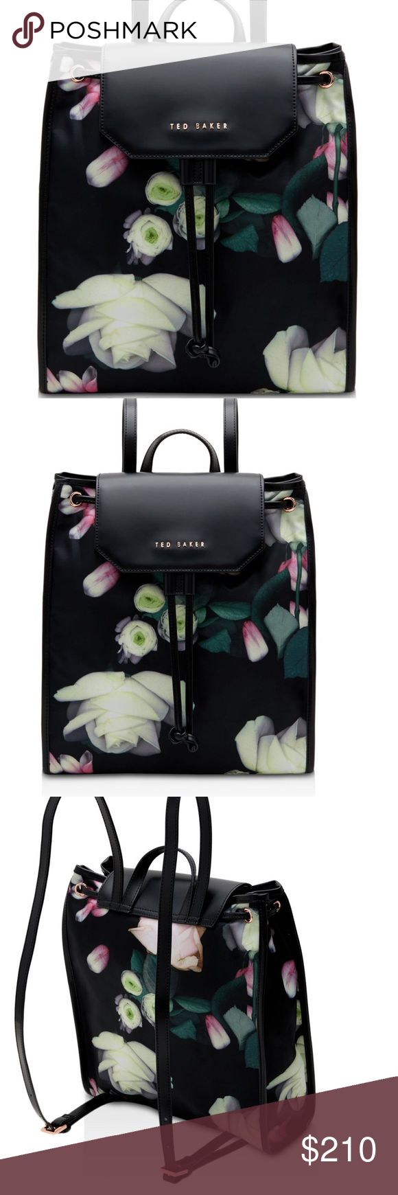 Host Pick Ted Baker floral print backpack Host Pick 🌷This rimless Ted Baker backpack is the perfect choice for any season. Black with floral print nylon and leather. Roomy enough to vary that tablet from r school, work or shopping. 100% Authentic new with tag. Ted Baker Bags Backpacks