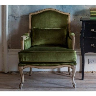 Hathaway Moss Green Velvet Chair Lifestyle CLose Up
