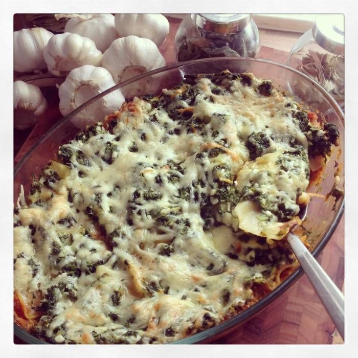 Vegetarisk morot,spenat och keso lasagne