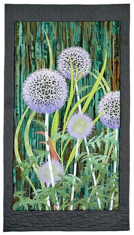 Globe Thistle art quilt by Aileyn Ecob | Fiber On the Wall