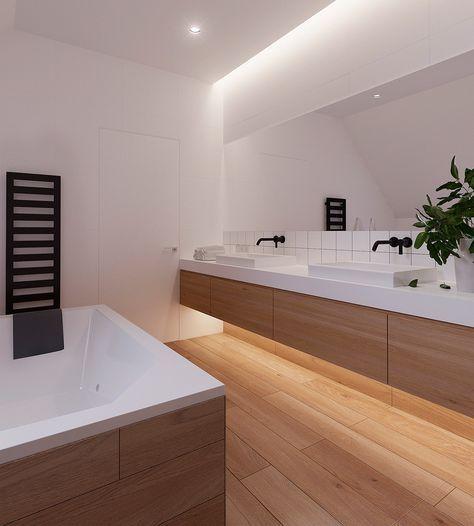 Interessante illuminazione bagno attraverso nicchia lungo il soffitto e fascio di luce sotto i mobili