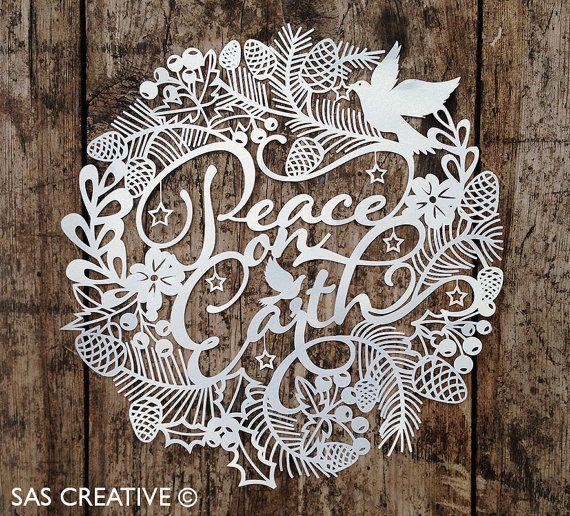 Christmas Papercut Template 'Peace On Earth' PDF by SASCreative