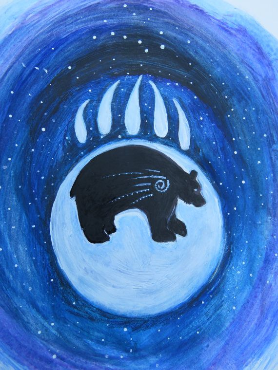 Bear art, nature art, animals, blue, bear moon art, bear totem, Native american art print, Indian art, nature art , gift ideas, decor bears,
