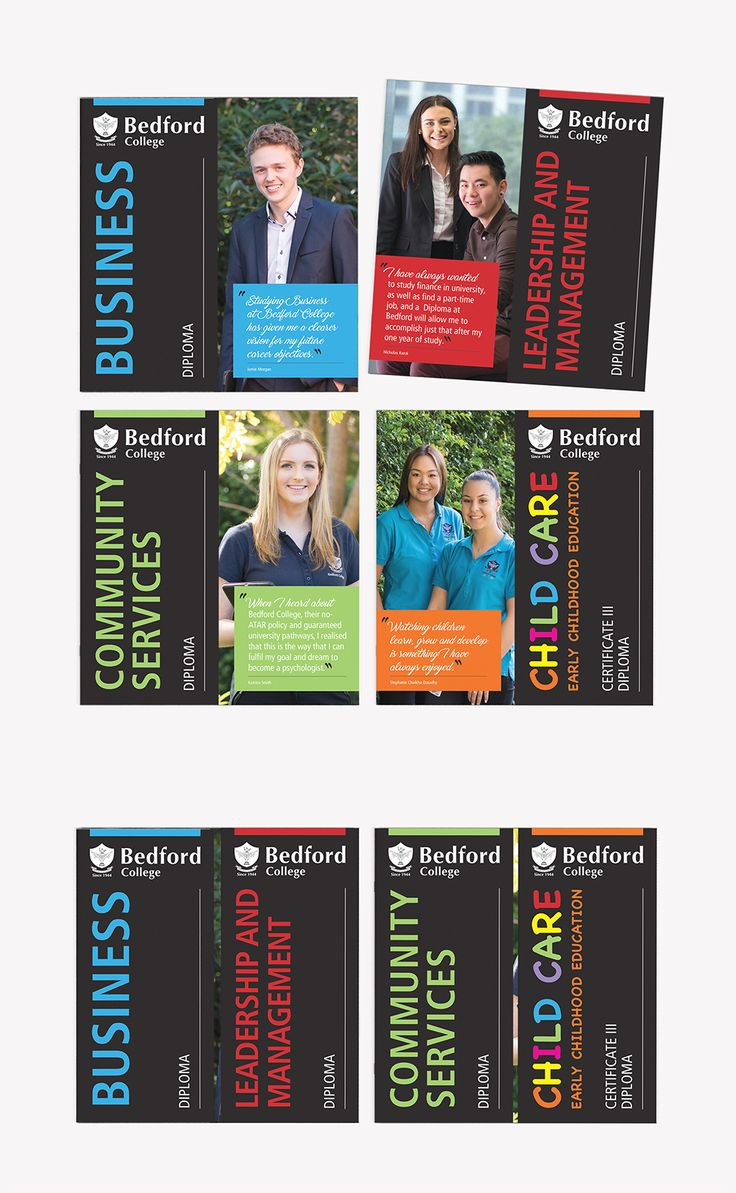 Bedford College - Course Brochures. Design and print production.