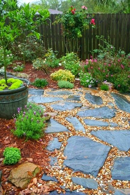 Stone and pea gravel path for the yard pinterest for Garden path stones