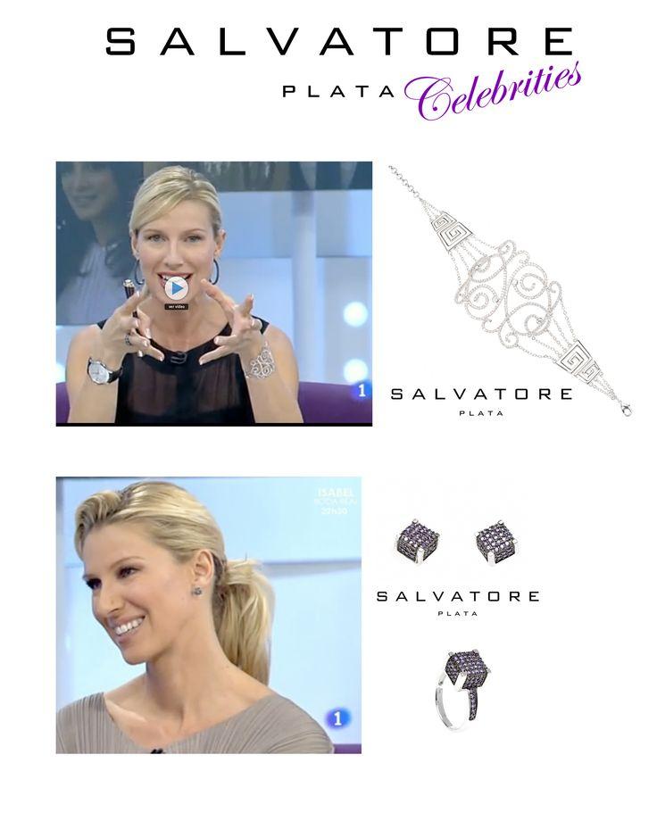 """La presentadora, Anne Igartiburu, con las joyas Salvatore Plata en el magazin """"+gente"""". Ver más coleccion en www.salvatore.es"""