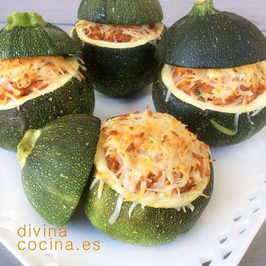 Calabacines rellenos de arroz y boloñesa < Divina Cocina