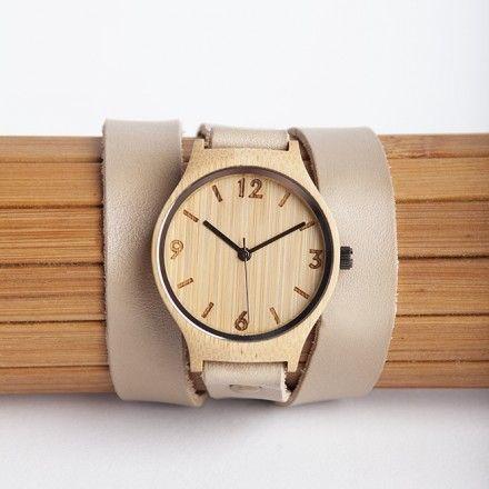 decovry.com - Bamboo Revolution   The Bamboo Revolution Horloge   Dubbele Band   Beige