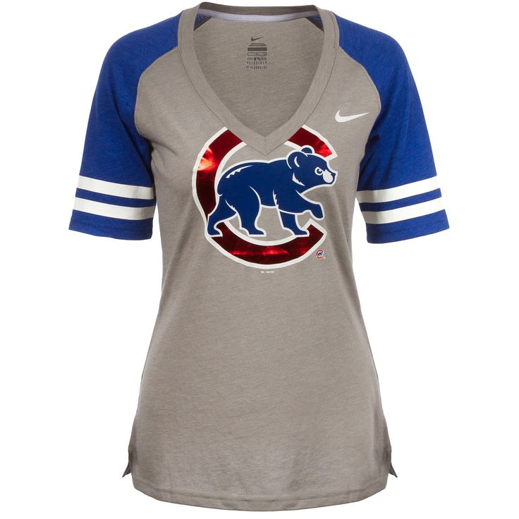 Chicago Cubs Womens Grey Shiny Crawl Bear V-Neck Tee by Nike #Chicago #Cubs #ChicagoCubs