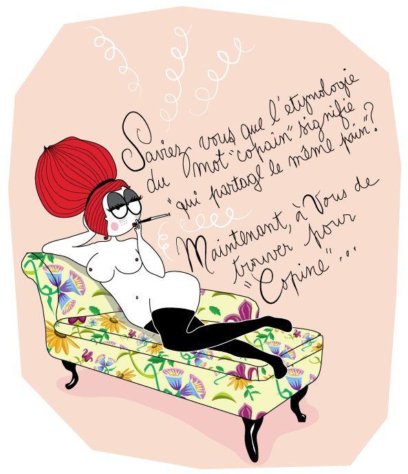 dessin de femme sur une meridienne qui parle de copain-copine