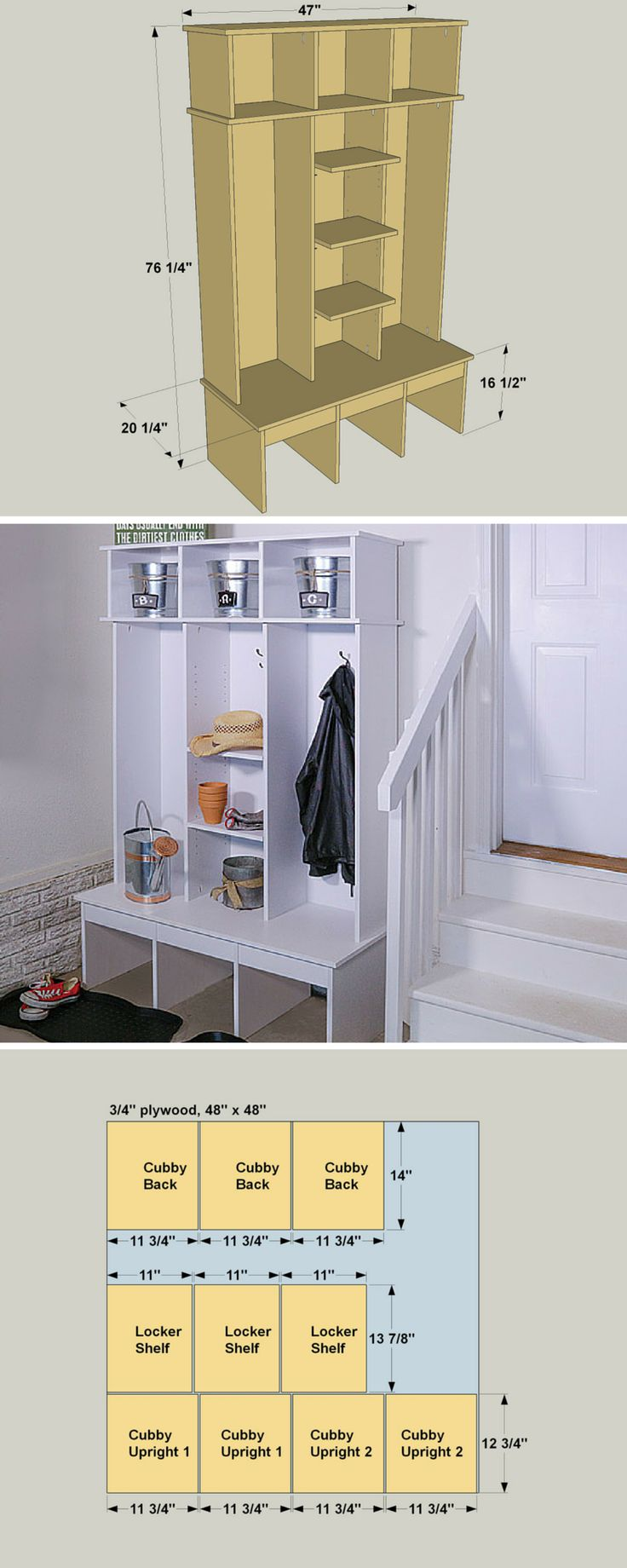 This entryway organizer hold coats, hats, gloves, and more to keep clutter under control, and looks great doing it. You can build one yourself using several basic tools, a few pieces of plywood, one board and some inexpensive molding. With a shelf-pin jig, and you can add adjustable shelves, too. Get the free DIY plans at buildsomething.com