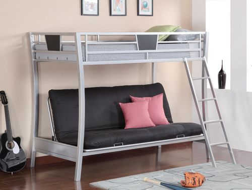 Dynamo Twin Full Kids Grey Metal Futon Bunk Bed