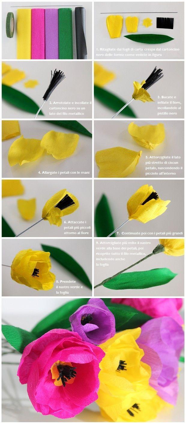 fiori di carta crespa tutorial   Fiori di Carta Crespa: Tutorial Tulipani con Foto