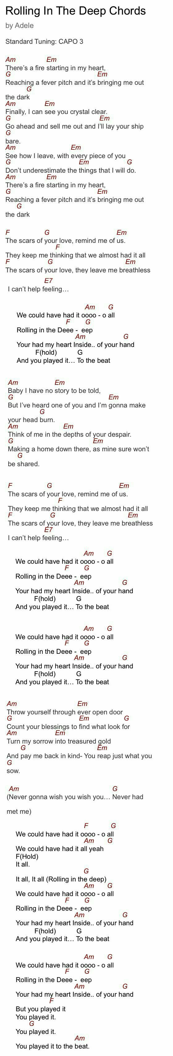 Adele - Rolling In The Deep Lyrics and guitar chords