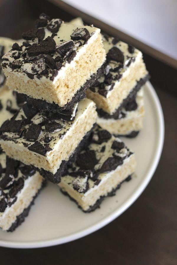 Cookies and Cream Rice Krispie Treats.   Recipes   Pinterest