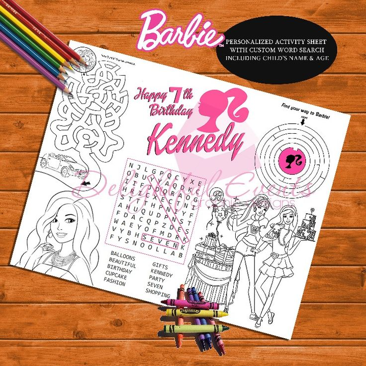 Barbie Birthday Activity Sheet and Coloring Page by ...