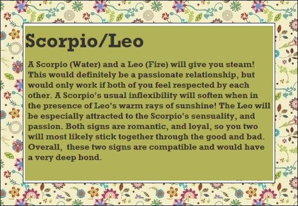 Leo woman dating scorpio man