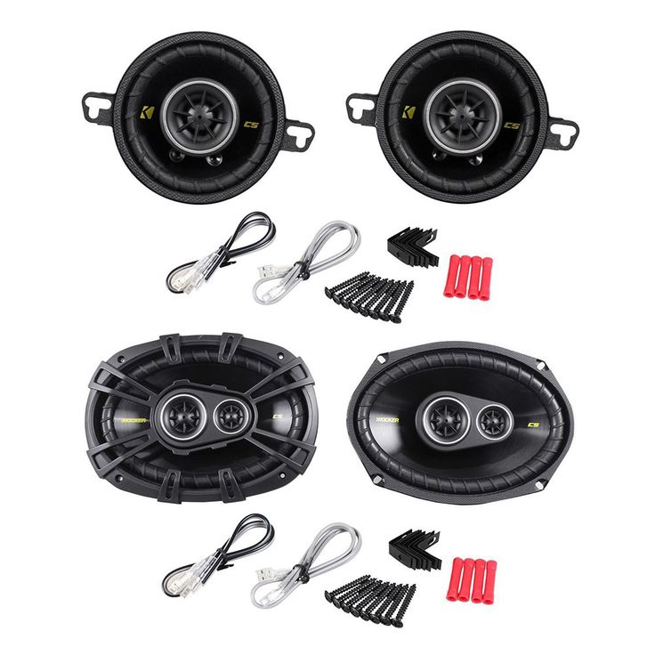 """Package: Pair of Kicker 40CS354 3.5"""" 4-Ohm 2-Way Car Audio Coaxial Speakers Totaling 180 Watt + Pair of Kicker 40CS6934 CS693 6""""x9"""" 6x9 4-Ohm 3-Way Car Audio Coaxial Speakers Totaling 900 Watt. 3-1/2"""" 90 Watt 4-Ohm 2-Way Car Audio Coaxial Speakers. 180 Watts Peak Power Total Per Pair / 90Watts Peak Power Per Speaker. 60 Watts RMS Total Power Per Pair / 30Watts RMS Per Speaker. Reliable, remarkable-sounding coaxial for easy drop-in, factory upgrades. Reduced-depth baskets allow fitment…"""