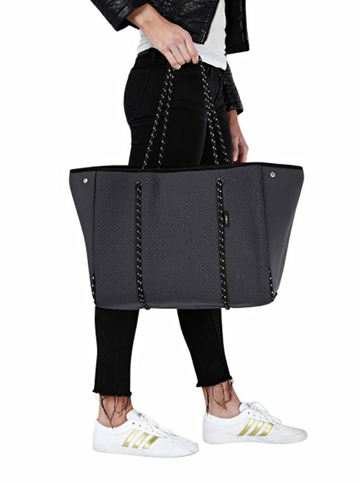 Perforated neoprene tote carry bag with zip & rope handles. Small coin purse inside. 30 x 30 x 24 cm. Available in Black, Charcoal, Grey, White, Navy, Metal