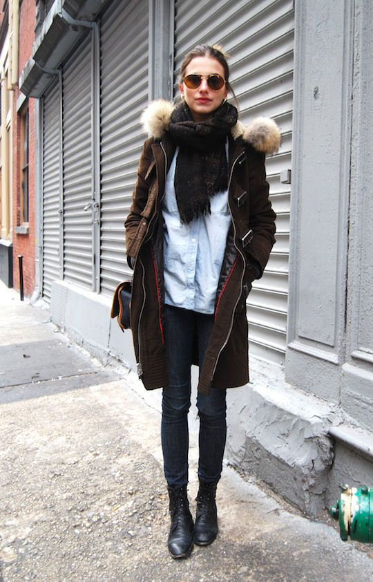 fre-ya: Fashion Models, Winter Style, Street Style, Outfit, Denim Shirts, Jackets, Winter Coats, Boots, Cold Weather