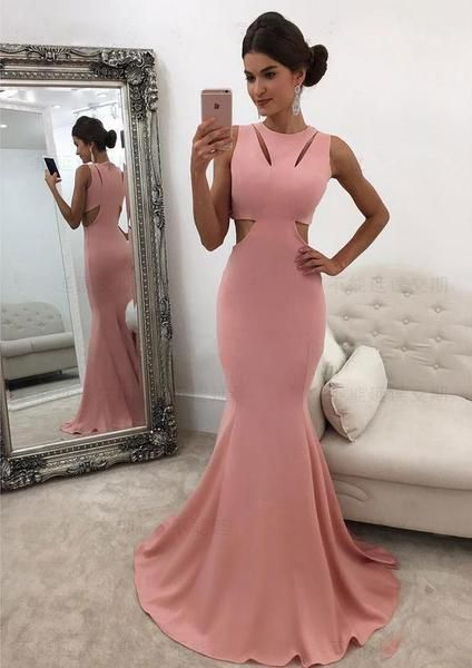 Charming Mermaid Jersey Sleeveless Simple Cheap Long Prom Dress ... 7e56c4bd5879