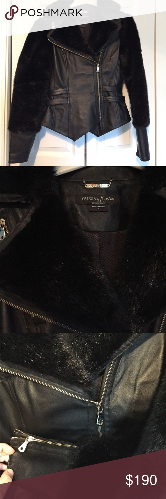 Black leather and fur GUESS jacket Black leather jacket with fur detail and gold zippers on front and arms of jacket. Fur on back as well as shown in pictures. Amazing condition no marks or scrapes Guess by Marciano Jackets & Coats