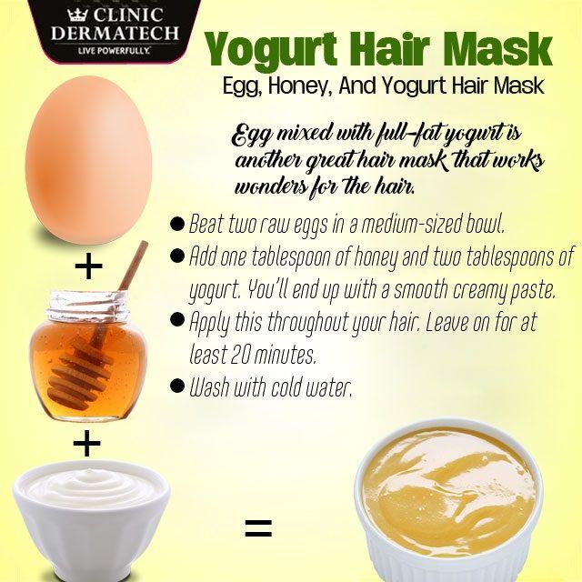 Yogurt Hair Mask Egg, Honey, and Yogurt Hair Mask #ClinicDermatech #LivePowerfully #10GloriousYears #Beauty #Wellness