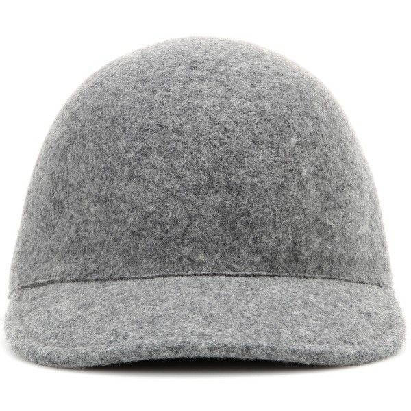 Stella McCartney Felted Wool Baseball Cap found on Polyvore featuring accessories, hats, headwear, head, grey, wool hat, stella mccartney, wool baseball hat, wool baseball cap and gray hat