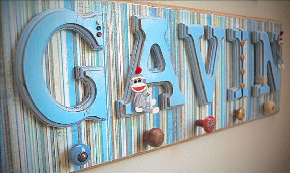 Baby Boy Name Sign Plaque - Personalized Baby Gift, Custom Name, Boy Nursery Decor, Kids Wall Art-any color and theme on Etsy, $100.00
