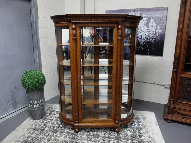 antiques by design bevel glass front victorian quartered oak china cabinet