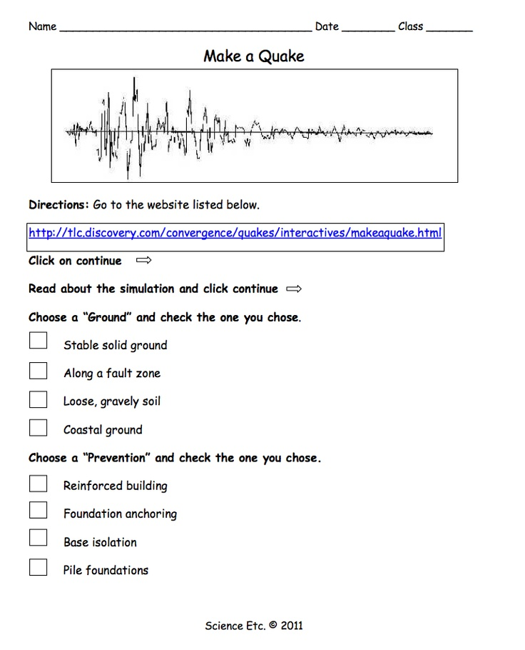 """FREE SCIENCE LESSON - """"Make a Quake Simulation Activity"""" - Go to The Best of Teacher Entrepreneurs for this and hundreds of free lessons.  http://thebestofteacherentrepreneurs.blogspot.com/2011/10/free-science-lesson-make-quake.html"""