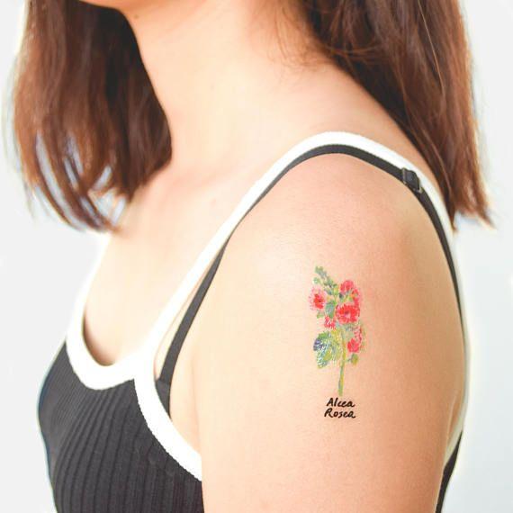 temporary flower tattoo lavender tattoo sticker red rose