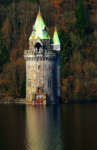 """the straining tower"" lake vyrnwy, powys, wales. Fifty-four million gallons of…"