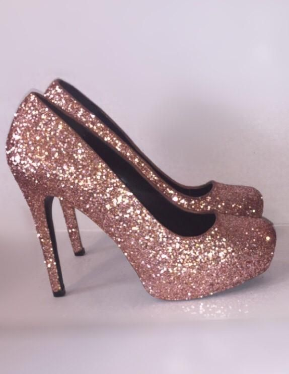 Women s Sparkly Metallic Rose Gold Pink Glitter high   low Heels Stiletto  shoes - Glitter Shoe Co 0eb278babc