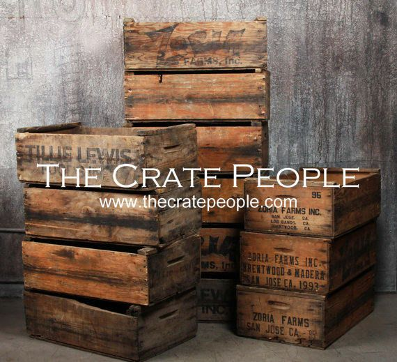 Wholesale Pricing Pallet Of Vintage Farms Crates In 2020 Vintage Wood Crates Vintage Wood Crates