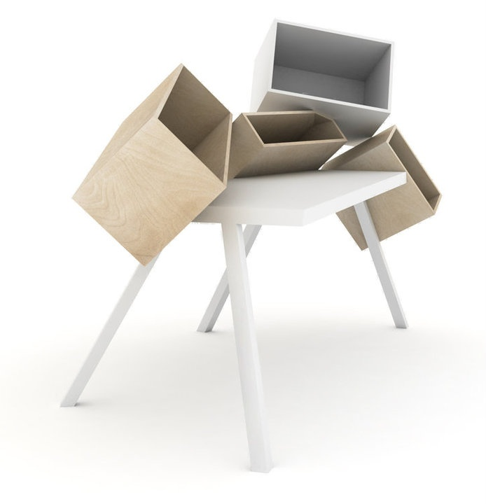 Furniture, Funky Artistic Wood Funky Desks Home Office Desks With Vari Size  Boxes To Put Storage: Funky Desks With Many Plus Points