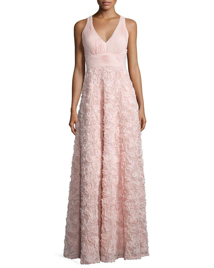 Sleeveless Embroidered Ball Gown, Women's, Size: 12, Blush - Aidan by Aidan Mattox