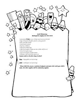School Supply List Example for Kindergarten: Editable