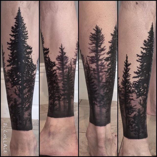 Forest sleeve tattoo, beautiful forest and trees design