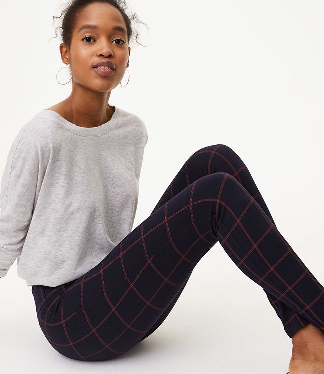 LOFT Petite Leggings in Windowpane Seamed Ponte