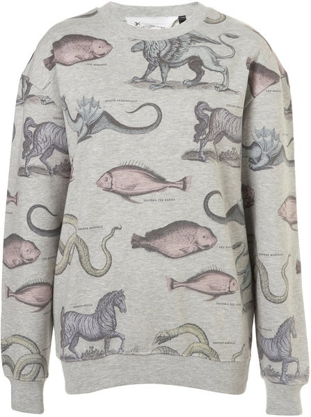 Topshop Mystical Animals Sweat By Tee and Cake in Gray (grey marl)