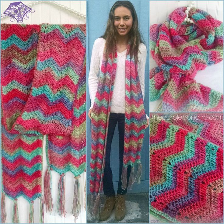 Chevron Super Scarf – Free Crochet Pattern at The Purple Poncho.