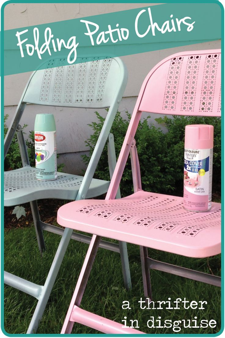 How to paint metal chairs how tos diy - A Thrifter In Disguise Diy Metal Folding Patio Chairs Makeover