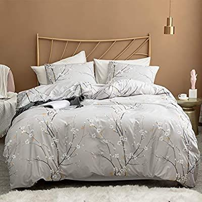 Amazon Com Argstar 3 Pcs Queen Duvet Covers Set Branch And Plum Printed Pattern Bed Sets Cream Comforter Cover Patterned Bedding Sets King Duvet Cover Sets